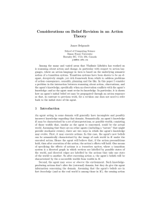 Considerations on Belief Revision in an Action Theory
