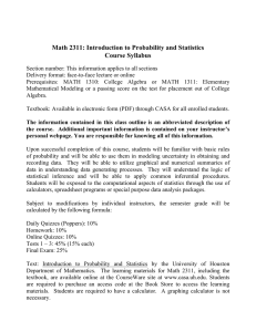 Math 2311: Introduction to Probability and Statistics Course Syllabus
