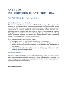 ANTH 100 INTRODUCTION TO ANTHROPOLOGY