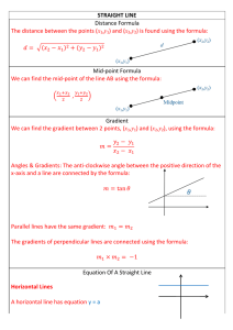 STRAIGHT LINE Distance Formula The distance between the points