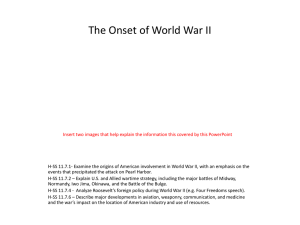 The Onset of World War II