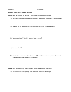 Ch 15 – Darwin`s Theory of Evolution Worksheet