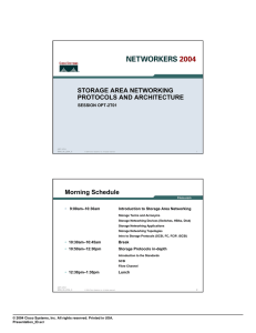 STORAGE AREA NETWORKING PROTOCOLS AND