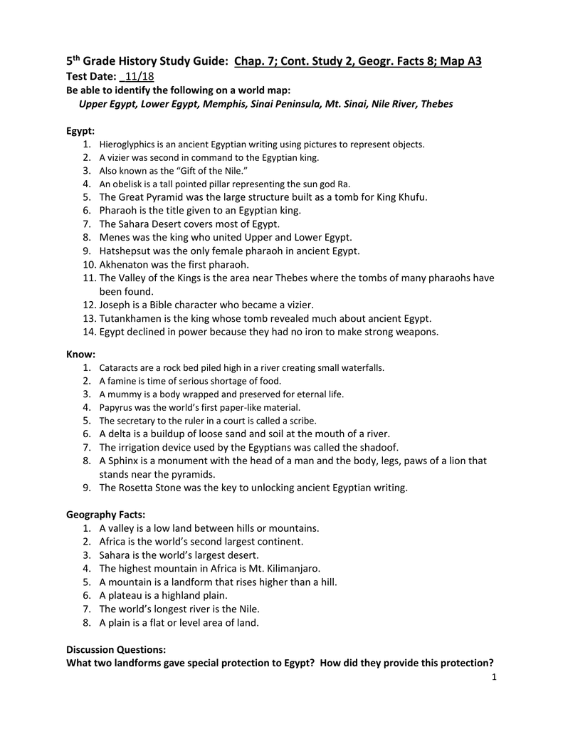 5 th Grade History Study Guide: Chap  7