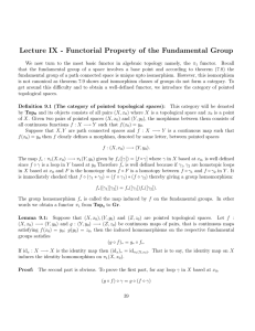 Lecture IX - Functorial Property of the Fundamental Group