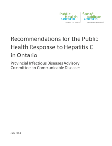 Recommendations for the Public Health Response to Hepatitis C in