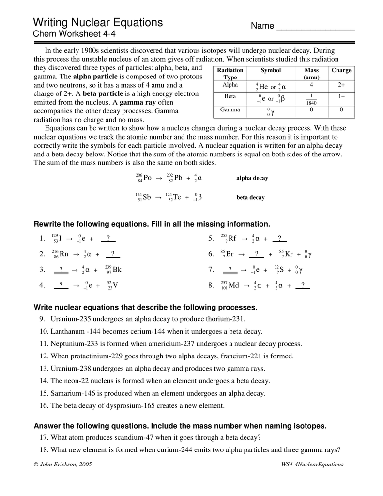 worksheet Writing Nuclear Equations Chem Worksheet 4 4 writing nuclear equations