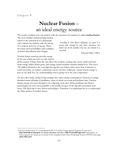 Nuclear Fusion - an ideal energy source
