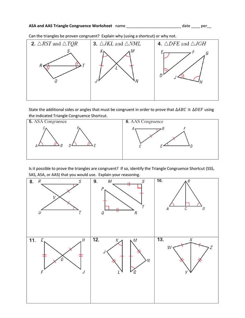 ASA and AAS Triangle Congruence Worksheet name date ____ per