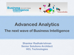 Advanced Analytics The next wave of Business Intelligence
