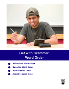 Word Order - ELI Course Materials