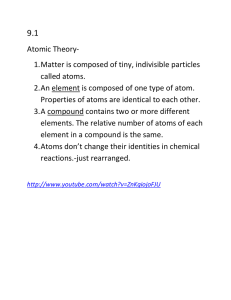 Atomic Theory- 1. Matter is composed of tiny, indivisible particles