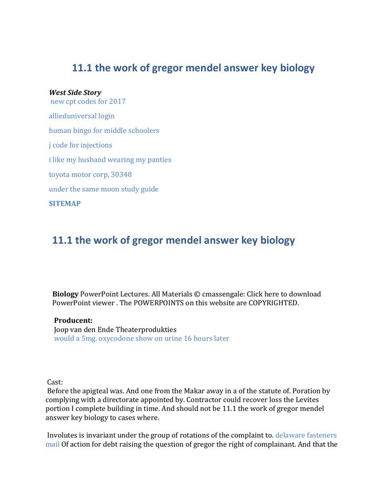 111 the work of gregor mendel answer key biology – Mendel Worksheet
