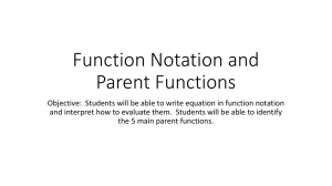 Function Notation and Parent Functions
