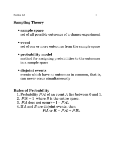 Sampling Theory • sample space set of all possible outcomes of a