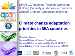Climate change adaptation priorities in South East Asia countries