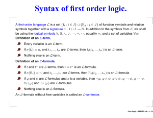Syntax of first order logic.