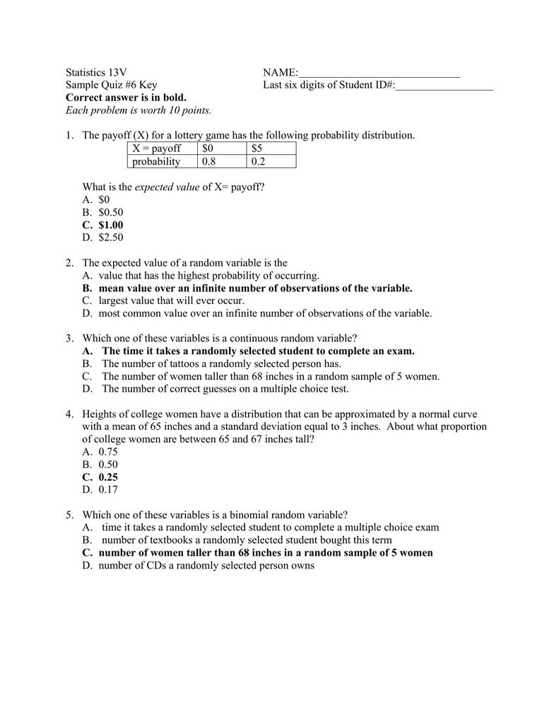 Sample Quiz #6 Key