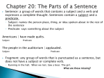 Chapter 15: The Parts of a Sentence