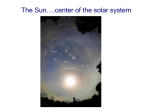 The Sun: center of the Solar System