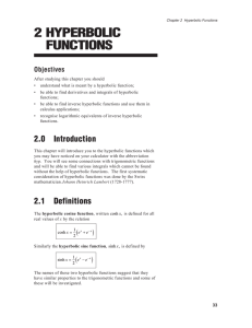 2 HYPERBOLIC FUNCTIONS