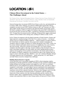 Chinese Direct Investment in the United States