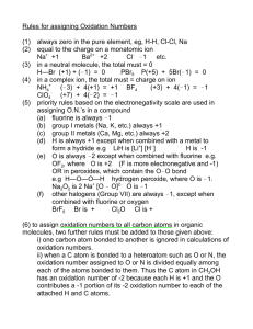 Rules for assigning Oxidation Numbers (1) always zero in the pure