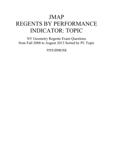 JMAP REGENTS BY PERFORMANCE INDICATOR: TOPIC
