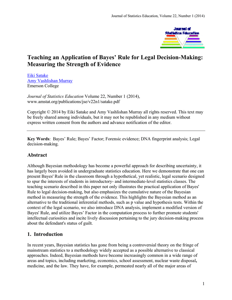 Teaching an Application of Bayes` Rule for Legal Decision
