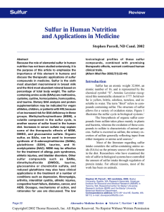 Sulfur in Human Nutrition and Applications in Medicine