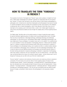 "how to translate the term ""forensic"" in french"