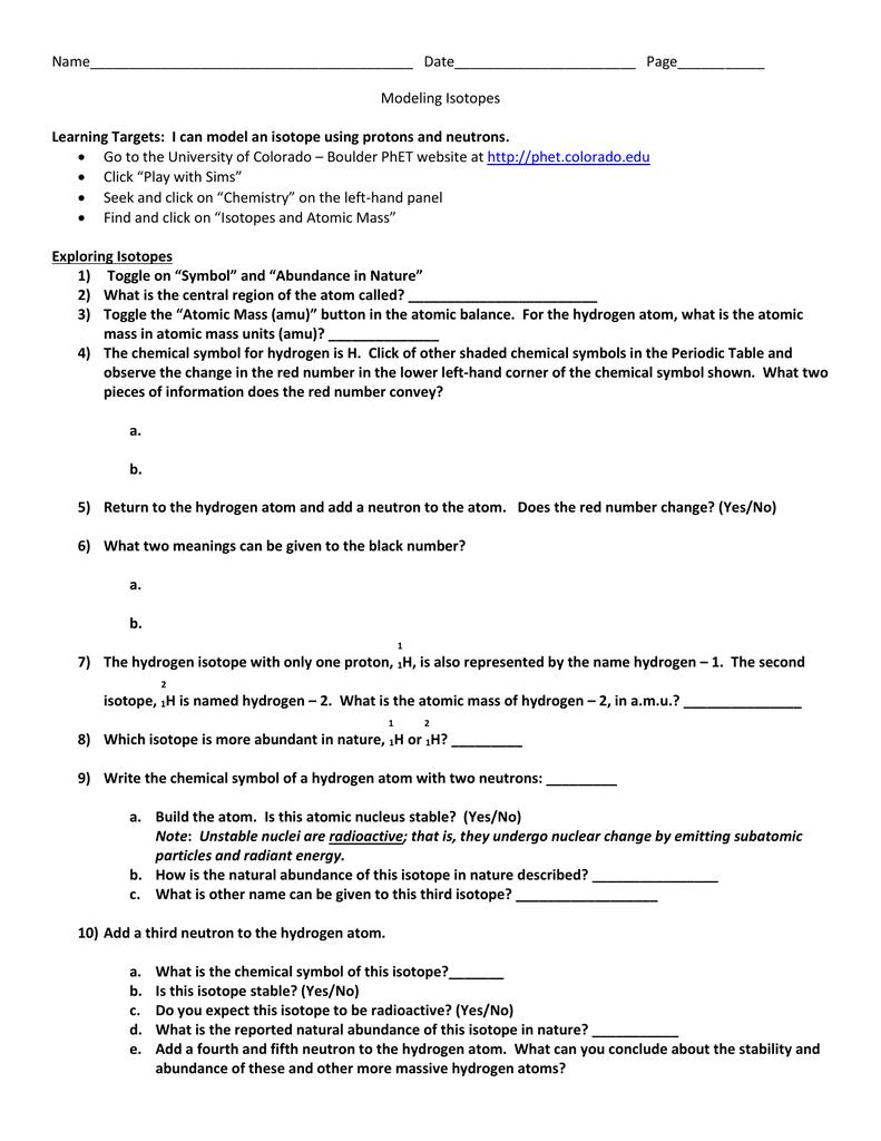 Modeling Isotopes Worksheet relangga – Isotopes Worksheet