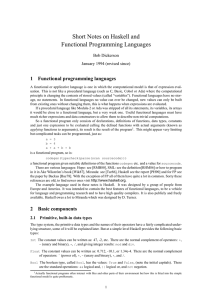 Short Notes on Haskell and Functional Programming Languages