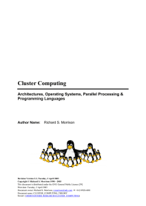 Cluster Computing: Architectures, Operating Systems, Parallel