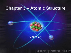 Chapter 3 – Atomic Structure - Mercer Island School District