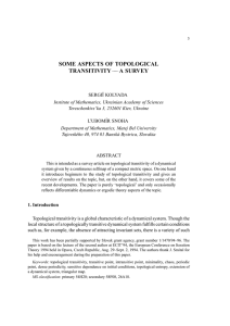 SOME ASPECTS OF TOPOLOGICAL TRANSITIVITY——A SURVEY