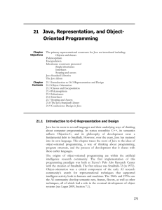 CH 21: Java, Representation, and Object