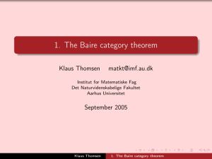 1. The Baire category theorem