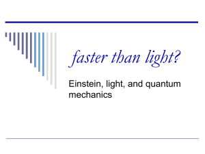faster than light? - Particle Physics and Particle Astrophysics