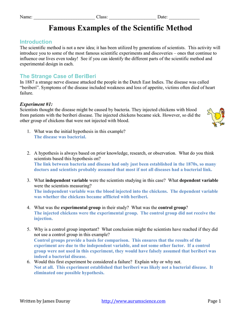 Of The Scientific Method Worksheet Answer