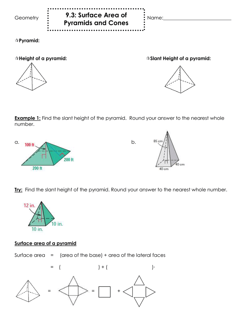 9 3 Surface Area Of Pyramids And Cones