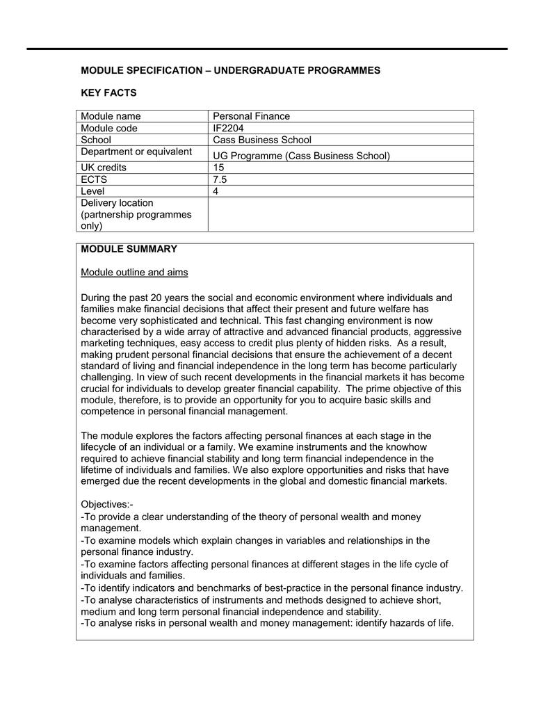 Module Specification - Cass Business School
