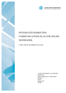 integrated marketing communications plan for online