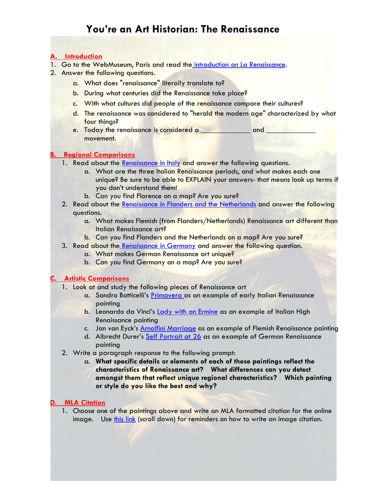 Renaissance Art Worksheet Answers - A Worksheet Blog