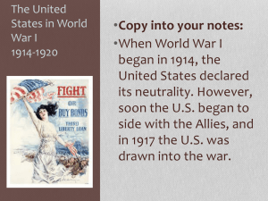The United States in World War I 1914-1920
