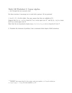 Math 130 Worksheet 2: Linear algebra
