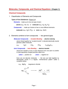 Molecules, Compounds, and Chemical Equations (Chapter 3)