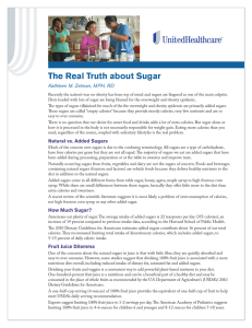 The Real Truth about Sugar