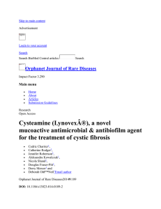 Cysteamine (Lynovex®), a novel mucoactive antimicrobial