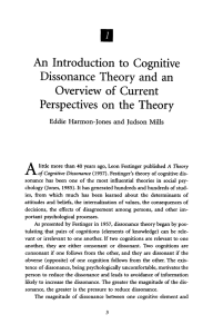 An introduction to cognitive dissonance theory and an overview of